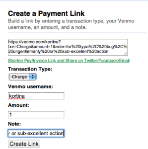Build an invoice link on Venmo